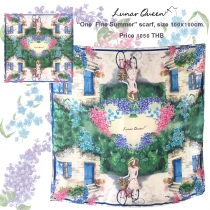 One Fine Summer Silk Satin Scarf size 100x100cm at Blisby