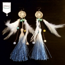 Sweet Two-Tone Tassel Earrings (Blue) at Blisby