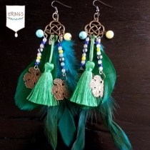 Gold Leaf Long Feather Earrings - Green at Blisby
