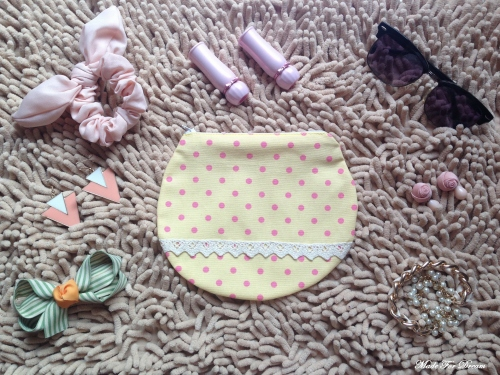 MFD polka dot yellow curve pouch*Handmade* สีเหลือง ลายจุด large image 0 by MadeForDream
