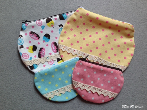 MFD polka dot yellow curve pouch*Handmade* สีเหลือง ลายจุด large image 2 by MadeForDream