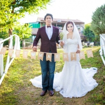 MADE to ORDER : ธงกระสอบเพ้นท์ Just Married at Blisby