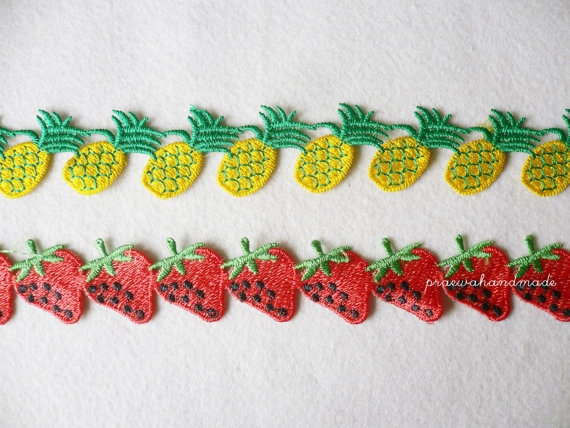 strawberry or pineapple ribbon ริบบินผลไม้ large image 1 by praewa