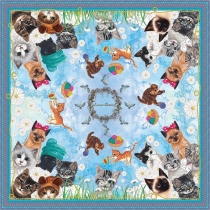 Kittens Silk Scarf (Blue) at Blisby
