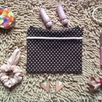 MFD polka dot brown pouch*Handmade* สีน้ำตาล ลายจุด at Blisby