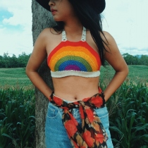 Rainbow Tropical crochet crop top at Blisby