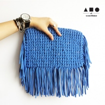 FRINGE CLUTCH (LIGHT BLUE) at Blisby