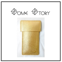 Saffiano Gold Leather Pen Case  by SOME STORY at Blisby