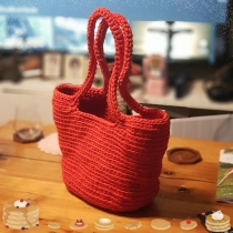 Red in red crocheted bag at Blisby