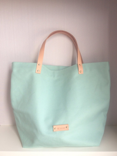 Mint Candy Canvas Tote large image 0 by bebrave