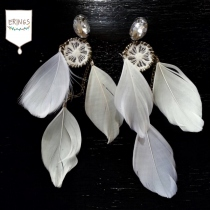Long White Feather Earrings at Blisby
