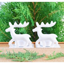White Reindeer Candle Holders เชิงเทียนกวางสีขาว งานโลหะ at Blisby