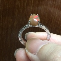 Fire Opal Silver 925 Ring size 55 at Blisby