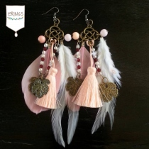 Gold Leaf Long Feather Earrings - Soap Orange at Blisby