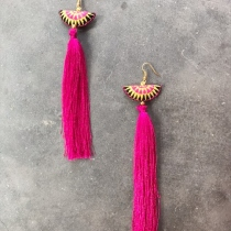 Lanna Embroidery with Pink Tassel Earrings at Blisby