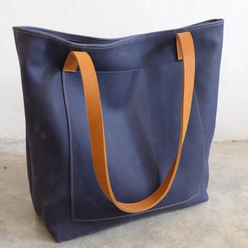 Vintage Retro Raw Navy Blue Leather Tote Bag/ กระเป๋าสะพายหนังแท้ large image 1 by THREEleather
