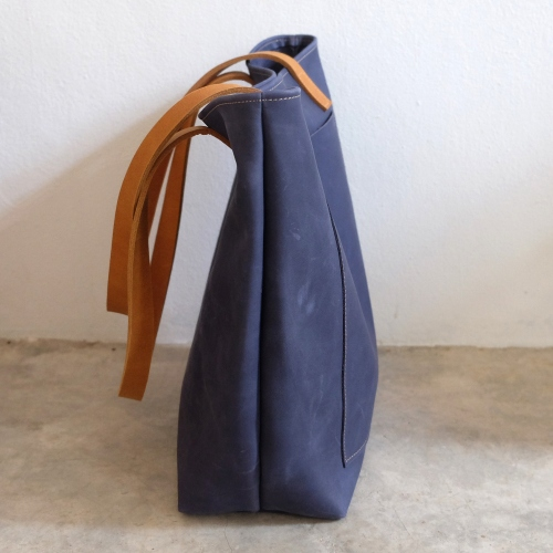 Vintage Retro Raw Navy Blue Leather Tote Bag/ กระเป๋าสะพายหนังแท้ large image 2 by THREEleather