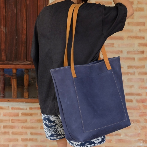 Vintage Retro Raw Navy Blue Leather Tote Bag/ กระเป๋าสะพายหนังแท้ large image 4 by THREEleather