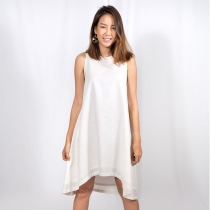 White Linen Swing Dress - Natural linen dress, summer dress at Blisby
