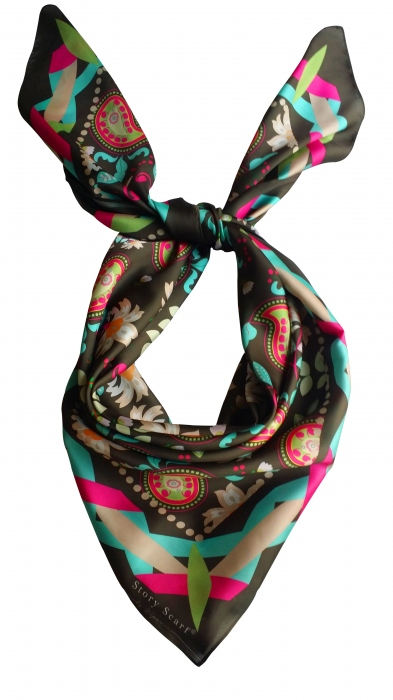 SQAURE SCARFwith The Blooming Gard,silk satin scarf large image 3 by WELoveThailandscarf