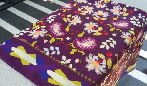 SQAURE SCARFwith The Blooming Gard,silk satin scarf large image 4 by WELoveThailandscarf