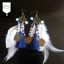 Gold Leaf Long Feather Earrings - White & Blue at Blisby