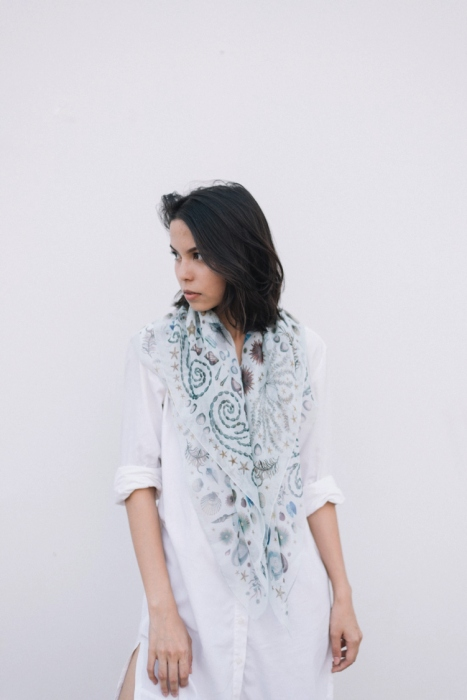 Sea of Love: Printed Silk Chiffon Scarf large image 1 by tasteoffable