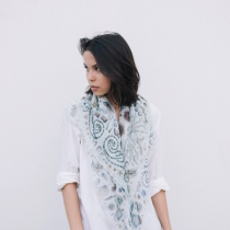 Sea of Love: Printed Silk Chiffon Scarf at Blisby