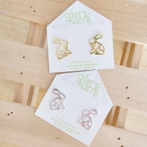 Glorikami Rabbit origami Earrings( gold plated) at Blisby