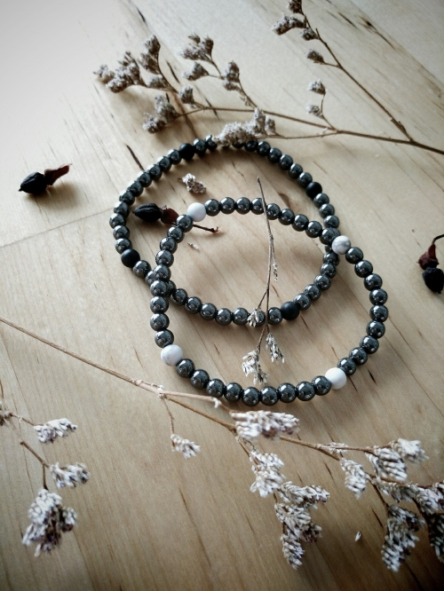 Mini Size 4mm. Onyx and Hematite for Hipster Couple large image 0 by WISHES