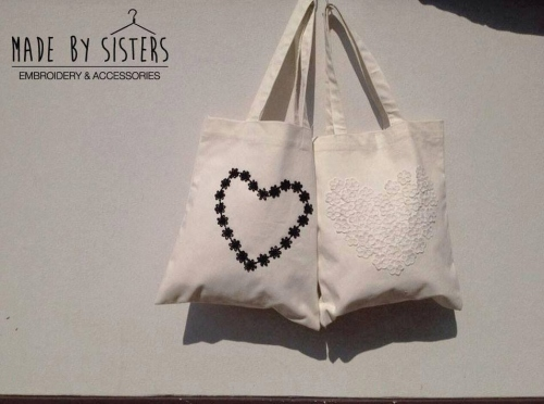 *White heart bag *Little heart bag large image 1 by MADEbySistersshop