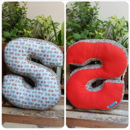 Pillow, Alphabet Letter Pillow, Single Letter Fabric Cushion - S large image 0 by SewingDuckDuck