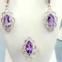 925 Silver Earring + pendant set with Natural Marquees Amethyst Stone at Blisby