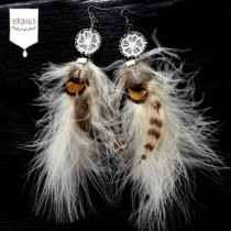 Long Brown Feather Earrings at Blisby