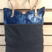 2-tone Canvas Tote Bag : Tie dye Indigo Linen/Dark Grey Cotton Canvas at Blisby