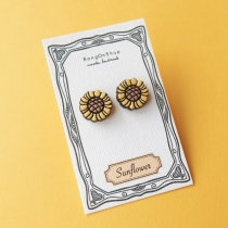 Wooden Earring Sunflower at Blisby