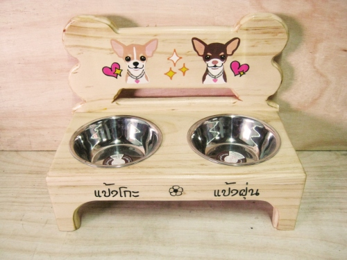 Pet Bowl Stand รุ่น -> Double Bowl with Bone large image 0 by AfflatusDIY