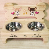 Pet Bowl Stand รุ่น -> Double Bowl with Bone at Blisby
