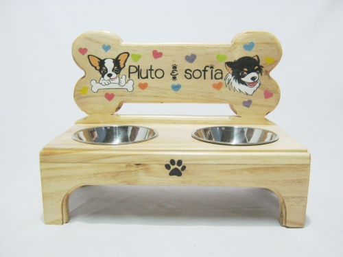 Pet Bowl Stand รุ่น -> Double Bowl with Bone large image 1 by AfflatusDIY