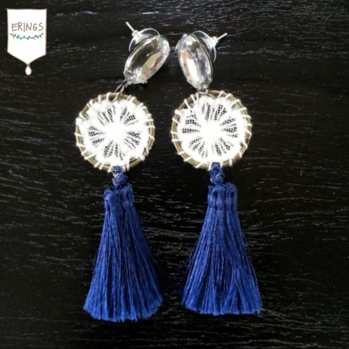 Navy Blue Tassel Earring large image 0 by ERINGSSTORE