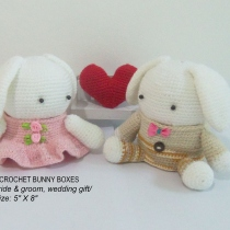 2 Crochet Wedding Bunny Boxes, bride & groom, wedding gift,  at Blisby