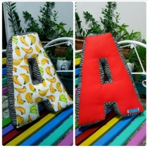 Pillow, Alphabet Letter Pillow, Single Letter Fabric Cushion - A at Blisby