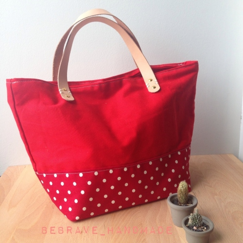 Red polka dot mini tote large image 1 by bebrave