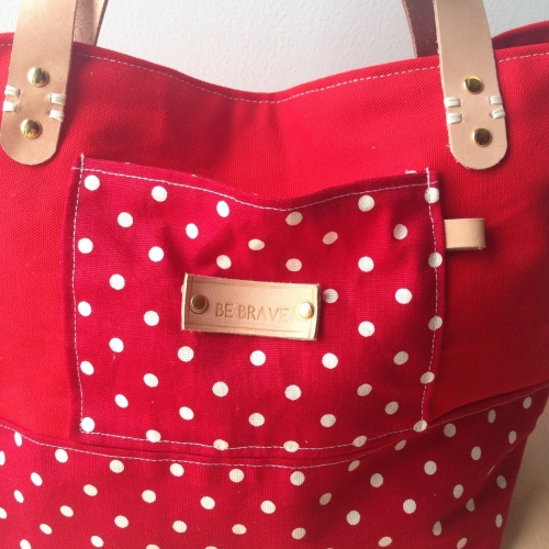 Red polka dot mini tote large image 3 by bebrave