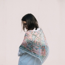 Paris: Printed Silk Satin Scarf at Blisby