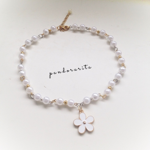 {white pearl with daisy necklace} large image 0 by pandorarita