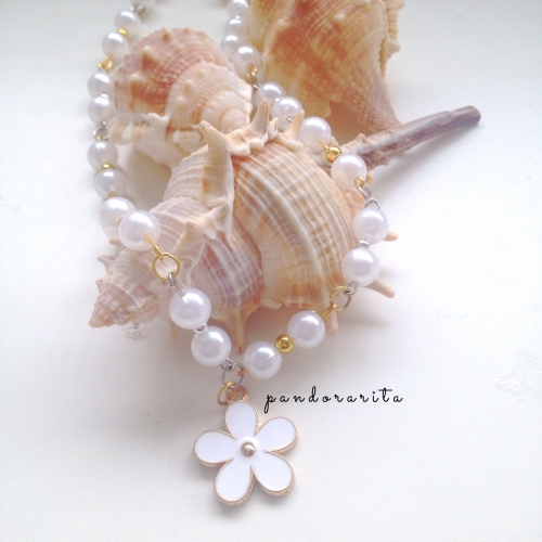 {white pearl with daisy necklace} large image 1 by pandorarita