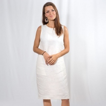 White Linen Dress - Natural linen dress, summer dress at Blisby