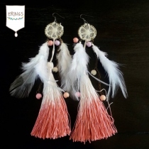 Sweet Two-Tone Tassel Earrings (Light Orange) at Blisby
