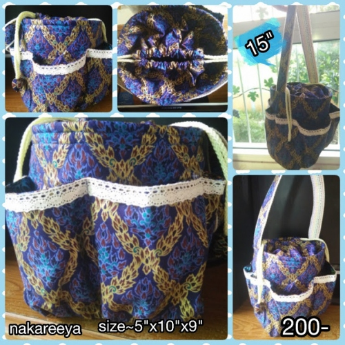 "bag size10""x9.5"" thai pattern cotton large image 1 by FinsHandmade"